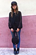 black BLANCO blouse - blue Zara jeans - black hm shoes - black Mango bag - black