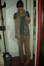 green Zara t-shirt - beige vintage from my mothers closet pants - brown Zara sho