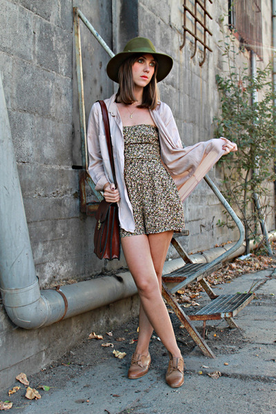 brown Zara shoes - army green Miss Vintage hat - crimson Miss Vintage bag