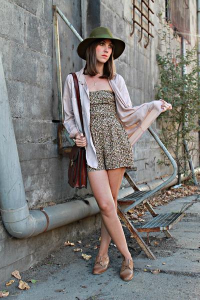 brown Zara shoes - army green Miss Vintage hat - crimson Miss Vintage bag