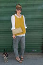Yellow-hm-vest-white-zara-shirt-gray-vintage-from-my-mothers-closet-jeans-