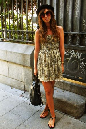 green Mango dress - black hm hat - gold BLANCO necklace - black hm sunglasses -