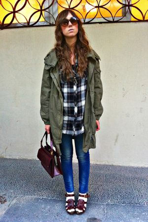 green Zara coat - brown hm shirt - blue Zara jeans - brown Zara shoes - brown vi