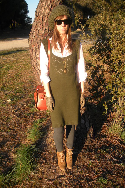 green Sfera dress - white Zara shirt - gray Zara leggings - beige Zara boots - b