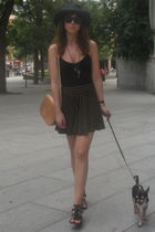 black hm t-shirt - brown BLANCO skirt - black Zara hat - black shoes - beige vin