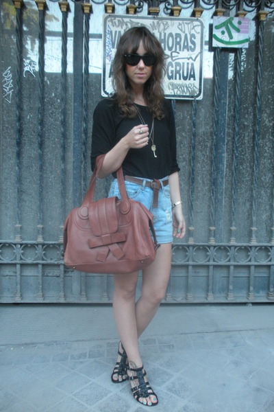 black Zara t-shirt - blue Oysho shorts - black shoes - brown Zara accessories -