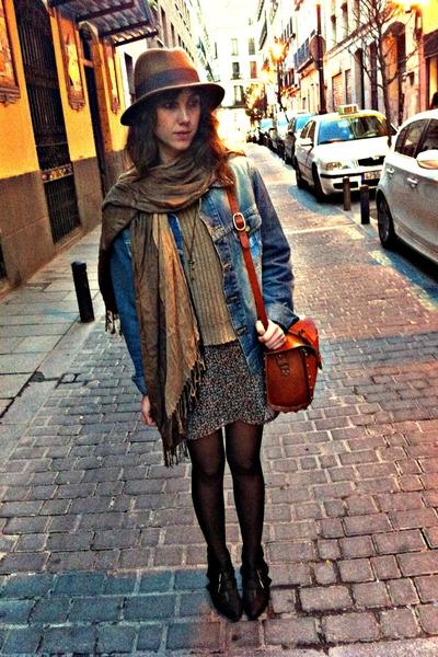 black hazel boots - brick red hm dress - bronze hm hat - blue Lee jacket - bronz