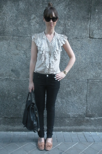 beige hm shirt - black hm jeans - brown Zara shoes - accessories - black vintage