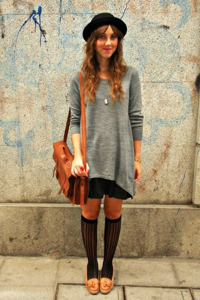 brown Zara shoes - black hm hat - gray hm sweater - brown Zara bag