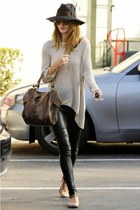 silver sweater - black leggings