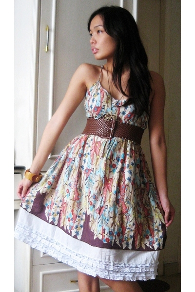 brown 168 belt - pink spring dress trifted dress - brown wooden cuff accessories