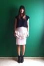 Black-h-m-boots-ivory-vintage-skirt-black-zara-t-shirt
