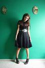Black-h-m-blouse-black-redbow-vtg-skirt-black-ebay-shoes-black-zara-belt
