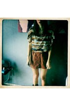 black cowboy boots boots - cream blouse - burnt orange pull&bear skirt
