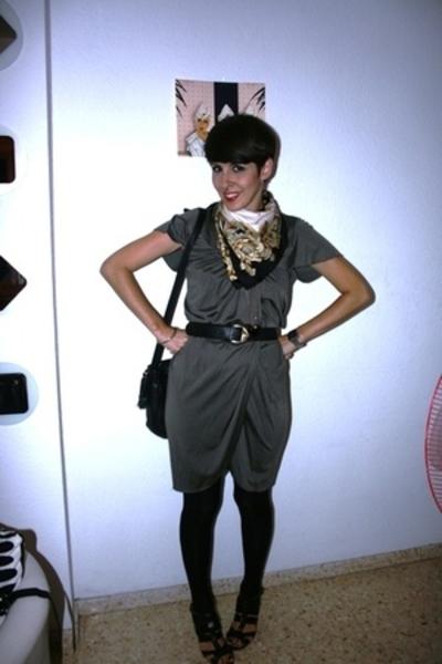 Zara dress - vintage belt - vintage scarf - Zara shoes