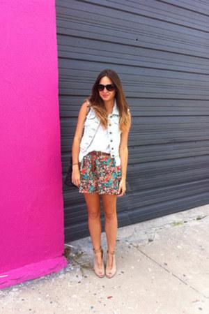 DSW wedges - H&M skirt - LF top - LF vest