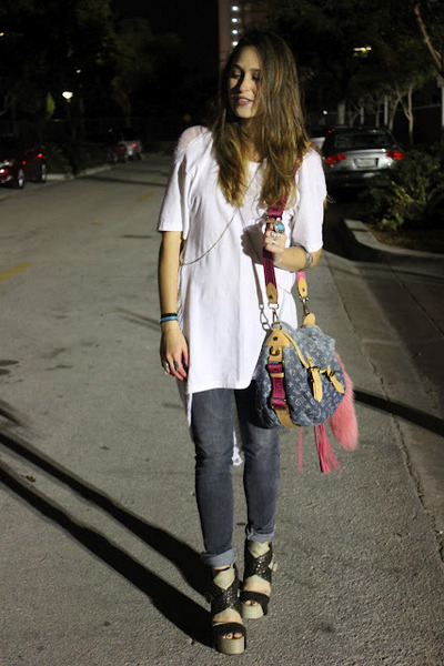 sdgf bag - JCrew jeans - Topshop shirt - Tabio heels
