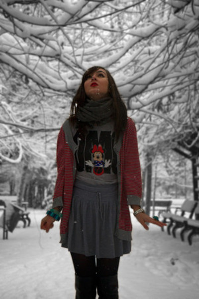 H&M scarf - local brand boots - Disney t-shirt - H&M skirt - Mango bracelet