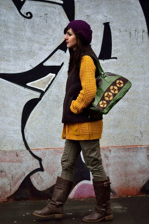 H&amp;M hat - Mini Prix boots - Lefties sweater - vintage bag - H&amp;M pants