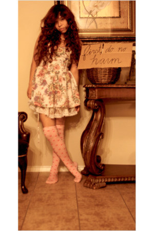 thrift dress - heart tights