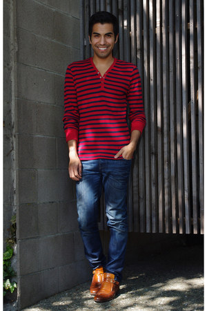 blue jeans - ruby red shirt - brown loafers