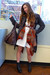 brown free people coat - orange sweater - white H&M dress - black Durango boots
