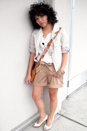 white Marc by Marc Jacobs blouse - white Carlson jacket - beige Mossimo shorts -