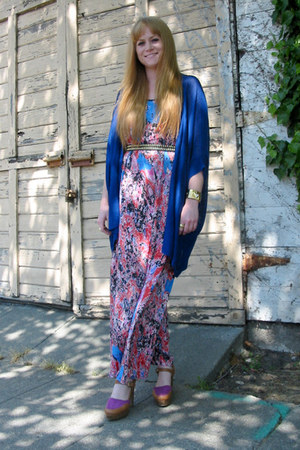 bubble gum Crossroads Trading New Merchandise dress - blue cardigan - light purp