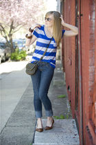 blue Forever21 shirt - blue Forever21 jeans - brown Steve Madden shoes