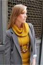 Gray-silence-and-noise-blazer-yellow-forever-21-sweater-gold-h-m-necklace-