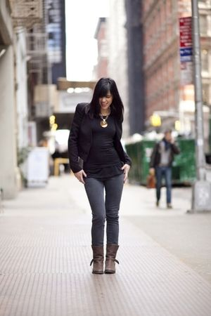 black H&M blazer - H&M necklace - blue radcliffe jeans - brown madewell boots