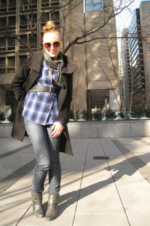 blue Target shirt - black H&M belt - black H&M jacket - gray go jane boots - blu