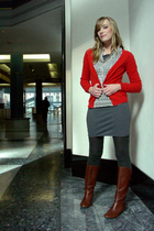red H&M cardigan - gray American Apparel dress - brown Target boots
