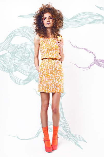 mustard shift dress crowned bird dress
