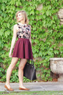 Black-sisley-bag-camel-suede-h-m-flats-maroon-bershka-skirt