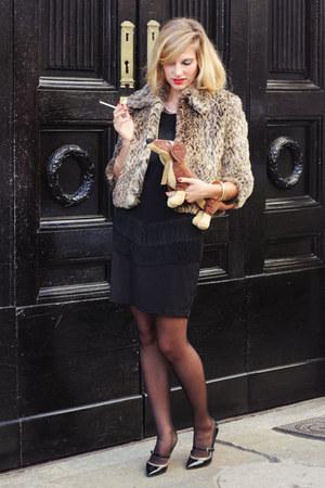 black fringed Yamamay dress - tan animal print Motivi coat - black Zara heels