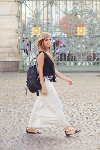 black vintage bag - silver gray maxi skirt Bershka skirt