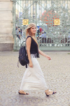 black vintage bag - silver gray maxi skirt Bershka skirt