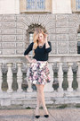 Silver-asos-bag-black-suede-stradivarius-heels-black-floral-asos-skirt