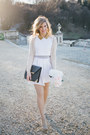 White-asos-dress-black-leather-stradivarius-bag-beige-stradivarius-cardigan