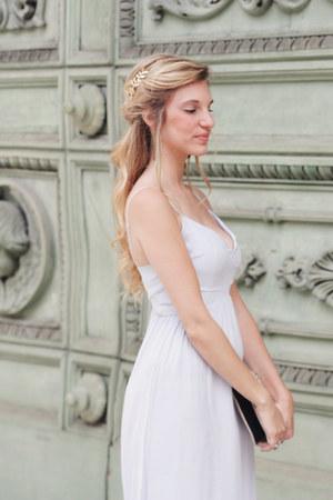 white H&M flats - light blue Bershka dress - eggshell H&M bag