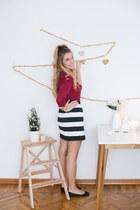 ruby red Stradivarius blouse - white striped Sheinside skirt