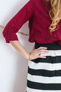Ruby-red-stradivarius-blouse-white-striped-sheinside-skirt