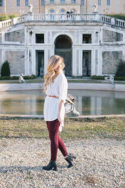 black Bershka boots - black leather Zara bag - white H&M skirt
