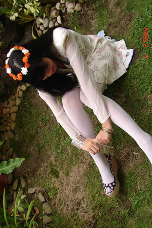 Rampage dress - DIY floral wreatcrown accessories - random brand tights - eightd