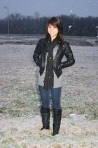black Forever21 jacket - black  boots - black Forever 21 scarf - gray Forever 21