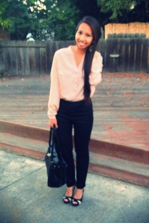 Forever 21 blouse - Aldo bag - Forever 21 pants - Nine West heels
