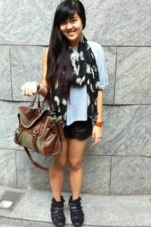 Aldo boots - Zara bag - crochet shorts - LUCYD ACYD top