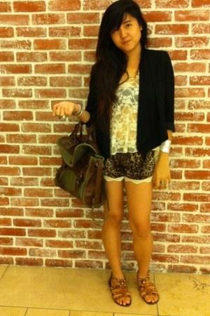 black Topshop blazer - dark green Zara bag - brown Cotton On Body shorts - off w