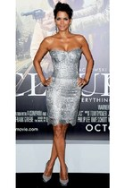 silver lace Dolce & Gabbana dress - heather gray versace heels - earrings
